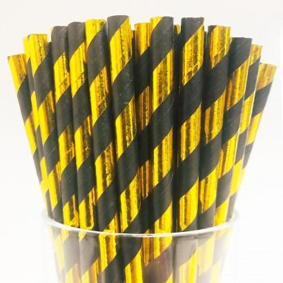 Black & Gold Biodegradable Paper Straws (25 pack)