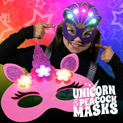 Light Up Felt Masks - Unicorn & Peacock