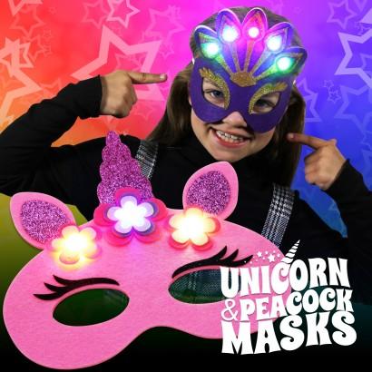 Flashing Felt Masks Wholesale - Unicorn & Peacock