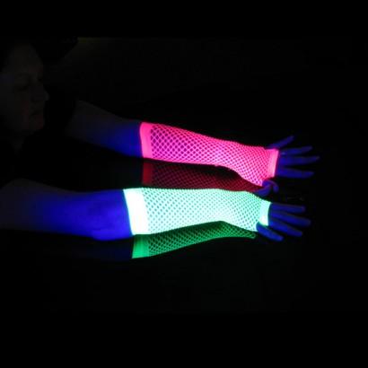 Long UV Fishnet Gloves