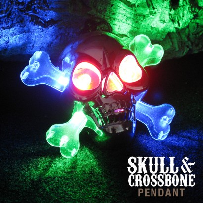 Light Up Skull & Crossbone Pirate Necklace
