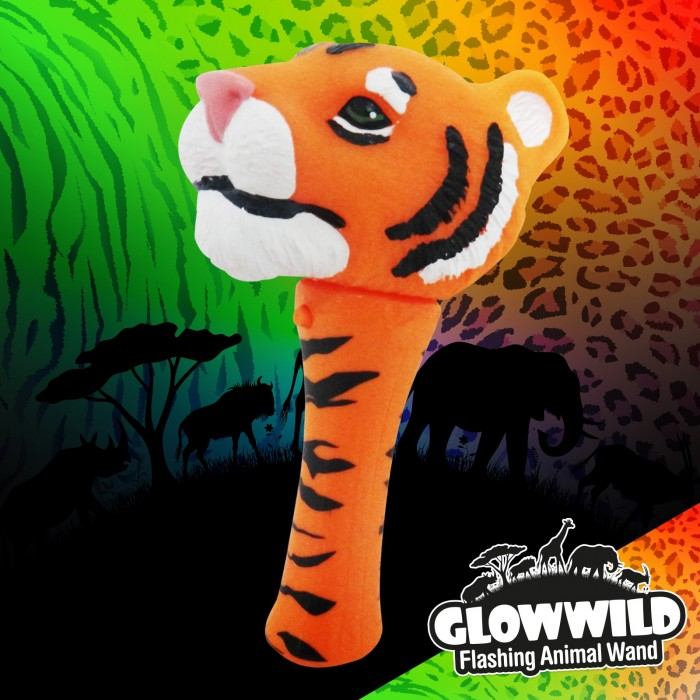 Tiger Mini Light Up Animal Wand 7""