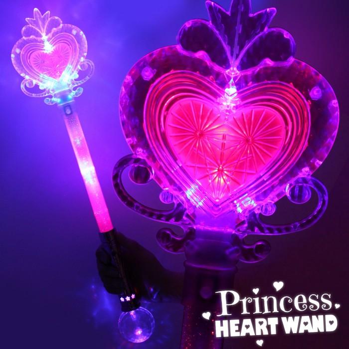 Pink Large Light Up Princess Heart Wand Wholesale