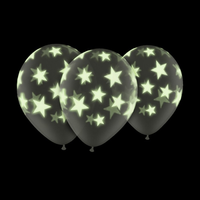 """Glow In The Dark 11"""" Star Balloons (5 Pack)"""