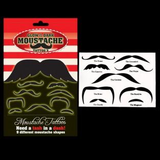 Glow in the Dark Moustache Tattoos