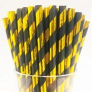 Black & Gold Biodegradable Paper Straws (25 pack) 1