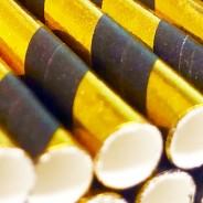 Black & Gold Biodegradable Paper Straws (25 pack) 2