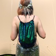 Green Sequin Drawstring Backpack 1
