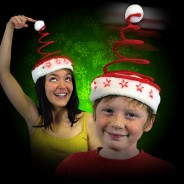 Wholesale Light Up Springy Santa Hat LED 2